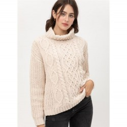 Cable Knit Turtleneck Chenille Sweater with Textured Sleeves - Ivory