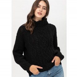 Cable Knit Turtleneck Chenille Sweater with Textured Sleeves - Black