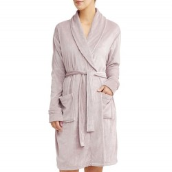Velvetine Luxury Mid-Length Robe with Stretch - Pink