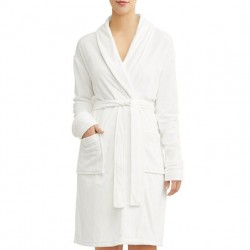Velvetine Luxury Mid-Length Robe with Stretch - White