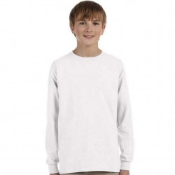 Boys 8 to 20 Long Sleeve Ultra Cotton T-Shirt - White