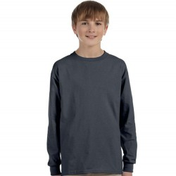 Boys 8 to 20 Long Sleeve Ultra Cotton T-Shirt - Charcoal
