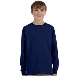 Boys 8 to 20 Long Sleeve Ultra Cotton T-Shirt - Navy