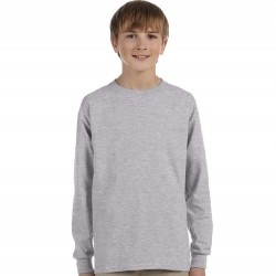 Boys 8 to 20 Long Sleeve Ultra Cotton T-Shirt - Sport Grey
