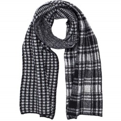 Mixed Plaid Scarf - Black/Grey