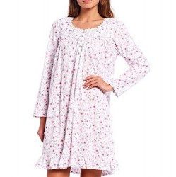 Eileen West Short Nightgown - White/Pink Ditzy Floral