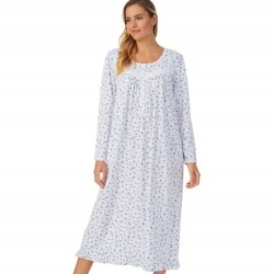Eileen West Long Nightgown - Navy/Plum Ditzy Floral