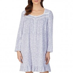 Eileen West Short Nightgown - White/Blue Ditzy Floral