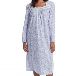 Eileen West Mid-Length Nightgown - White/Blue Ditzy Floral