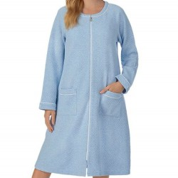 Eileen West Zip Up Quilted Robe - Chambray