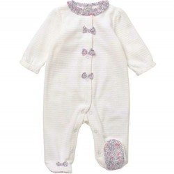 Infant Girl Ivory Footsie With Floral Detail on Neck and Feet