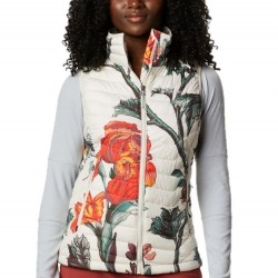 Columbia Powder Lite Omni Heat Quilted Zip Vest - Chalk Botanical Print