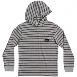 Boys 8 to 20 Quiksilver Light Weight Hooded Pullover - Light Grey Stripe
