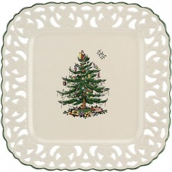 "SPODE ""Christmas Tree"" Square Pierced Platter"