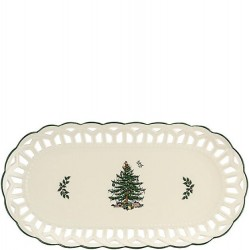 "SPODE ""Christmas Tree"" Pierced Sandwich Tray"