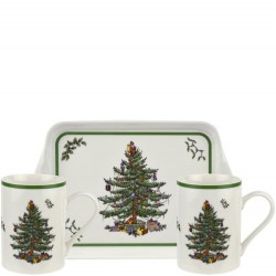 "SPODE ""Christmas Tree"" 3 pc Mug and Tray Set"