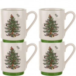 "SPODE ""Christmas Tree"" Set of 4 Stacking Mugs"