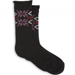 Hue Snowflake Supersoft Roll Top Boot Sock - Black
