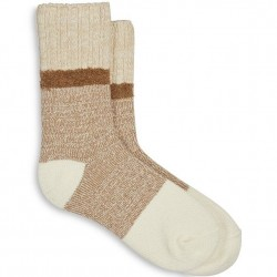 Hue Supersoft Marled Boot Sock - Ivory/Taupe