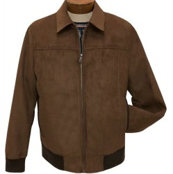 Enzo Faux Suede Bomber Jacket - Tobacco