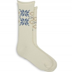 Hue Snowflake Supersoft Roll Top Boot Sock - Ivory