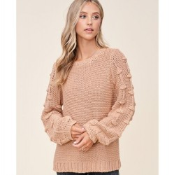 Solid Crewneck Sweater with Popcorn Balloon Sleeves - Taupe
