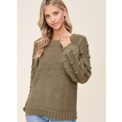 Solid Crewneck Sweater with Popcorn Balloon Sleeves - Olive