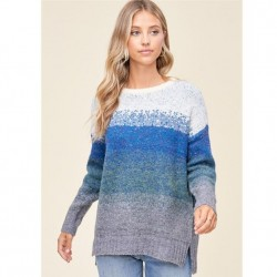 Long Sleeve Ombre Stripe Crewneck Sweater - Blue