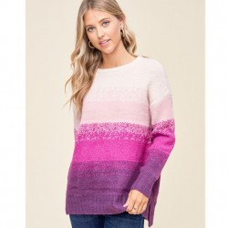 Long Sleeve Ombre Stripe Crewneck Sweater - Plum