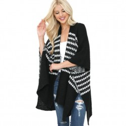 Soft Knit Stripe Kimono Sweater - Black