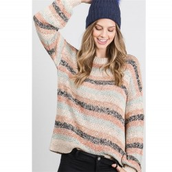 Striped Loose Knit Sweater with Ribbed Hem - Taupe