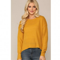 Waffle Knit Crew Neck Sweater with Drop Shoulders and Drop Needle Detail on Sleeves - Mustard