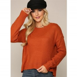 Waffle Knit Crew Neck Sweater with Drop Shoulders and Drop Needle Detail on Sleeves - Clay