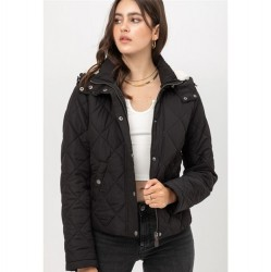 Solid Quilted Jacket with Sherpa Lined Hood - Black
