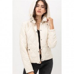 Solid Quilted Jacket with Sherpa Lined Hood - Ivory