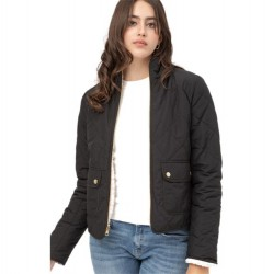 Quilted Reversible Jacket with Sherpa Fleece Lining - Black