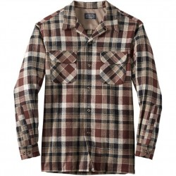 Pendleton Washable Wool Shirt with Straight Hem - Tan/Rust
