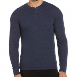 Perry Ellis Thermal Henley - Blue Heather