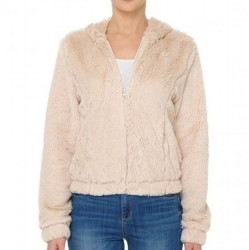Faux Fur Zip Front Hooded Jacket - Taupe