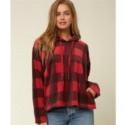 O'neill Plaid Slouchy Fit Hooded Fleece Pullover
