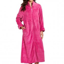Plush Robe with Full Zip Front - Raspberry