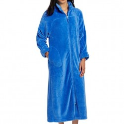 Plush Robe with Full Zip Front - Blueberry