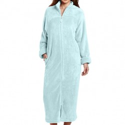 Plush Robe with Full Zip Front - Sky Blue