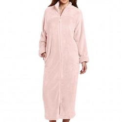 Plush Robe with Full Zip Front - Light Pink