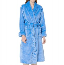 Plush Robe with Shawl Collar - Blueberry