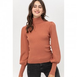 Long Sleeve 2x2 Ribbed Turtleneck Sweater with Puff Sleeves - Terracotta