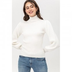 Long Sleeve 2x2 Ribbed Turtleneck Sweater with Puff Sleeves - White