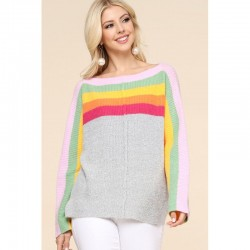 Long Sleeve Ribbed Crewneck Sweater with Rainbow Color Block - Heather Grey