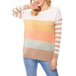 Long Sleeve Color Block Crewneck Sweater with Stripe Sleeves - Taupe