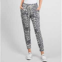 Animal Print Lounge Pants with Contrast Drawstring Waist - Grey